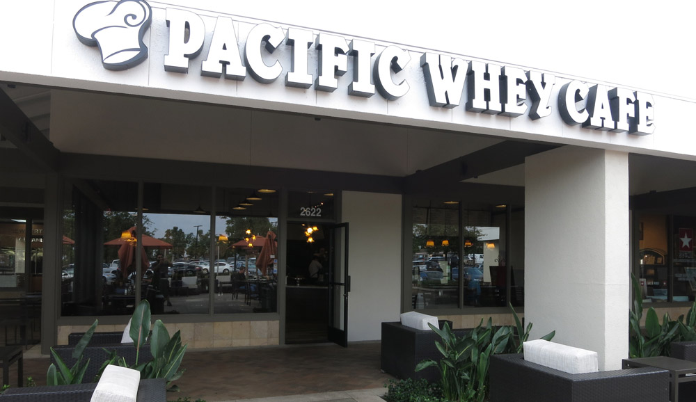 Outside Pacific Whey Cafe in Newport Beach